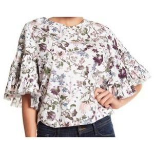 Melrose and Market top ruffle sleeve floral poplin